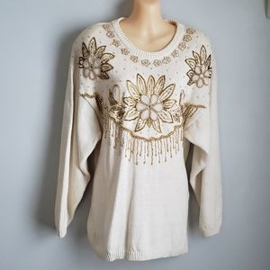 Vintage Beaded White Gold Sweater Flower
